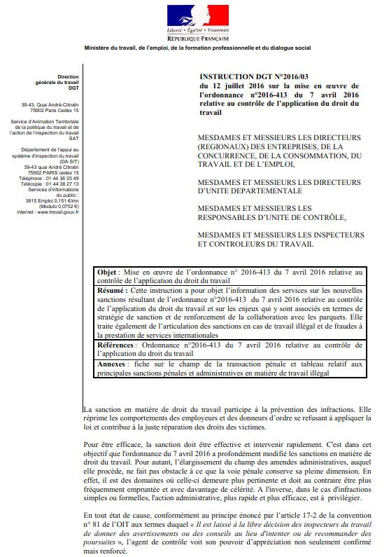 Circulaire Du 18 Juillet 2016 Du Droit Penal Du Travail Presentation De